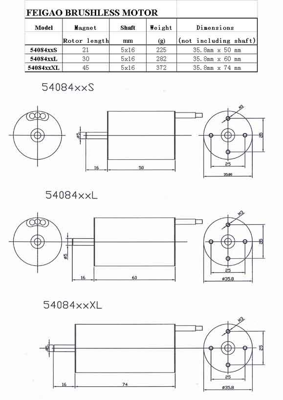 Feigao 540 Brushless Motor (54084xxXL Series)   Feigao