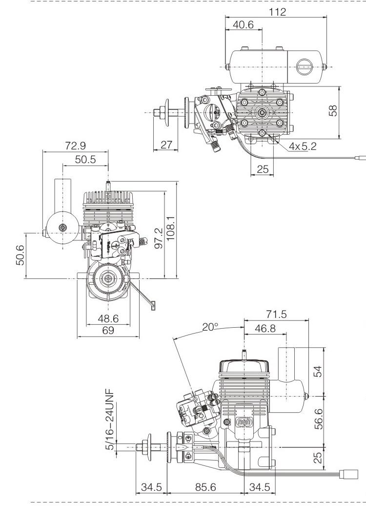 Ngh Gt25 B Petrol Engine For Radio Control Aeroplane Ngh