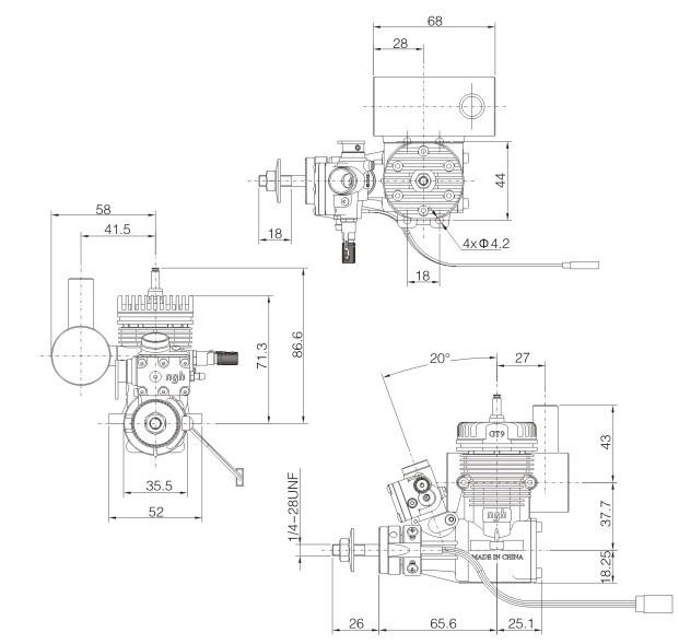 ngh 9cc petrol engine for radio control aeroplane gt9