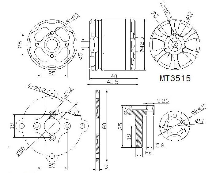 T-Motor MT3515 400KV Outrunner Brushless Motor for Multi-copter