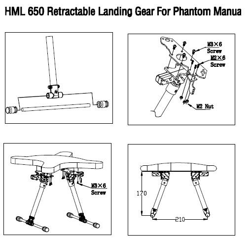 Retractable Landing Gear HML650 for DJI Phantom Vision   happymodel